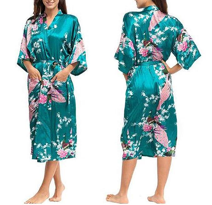 Mujer Seda Rayon Batas Vestido Kimono Yukata Mujeres Chinas Lencería Sexy Ropa de Dormir Más el