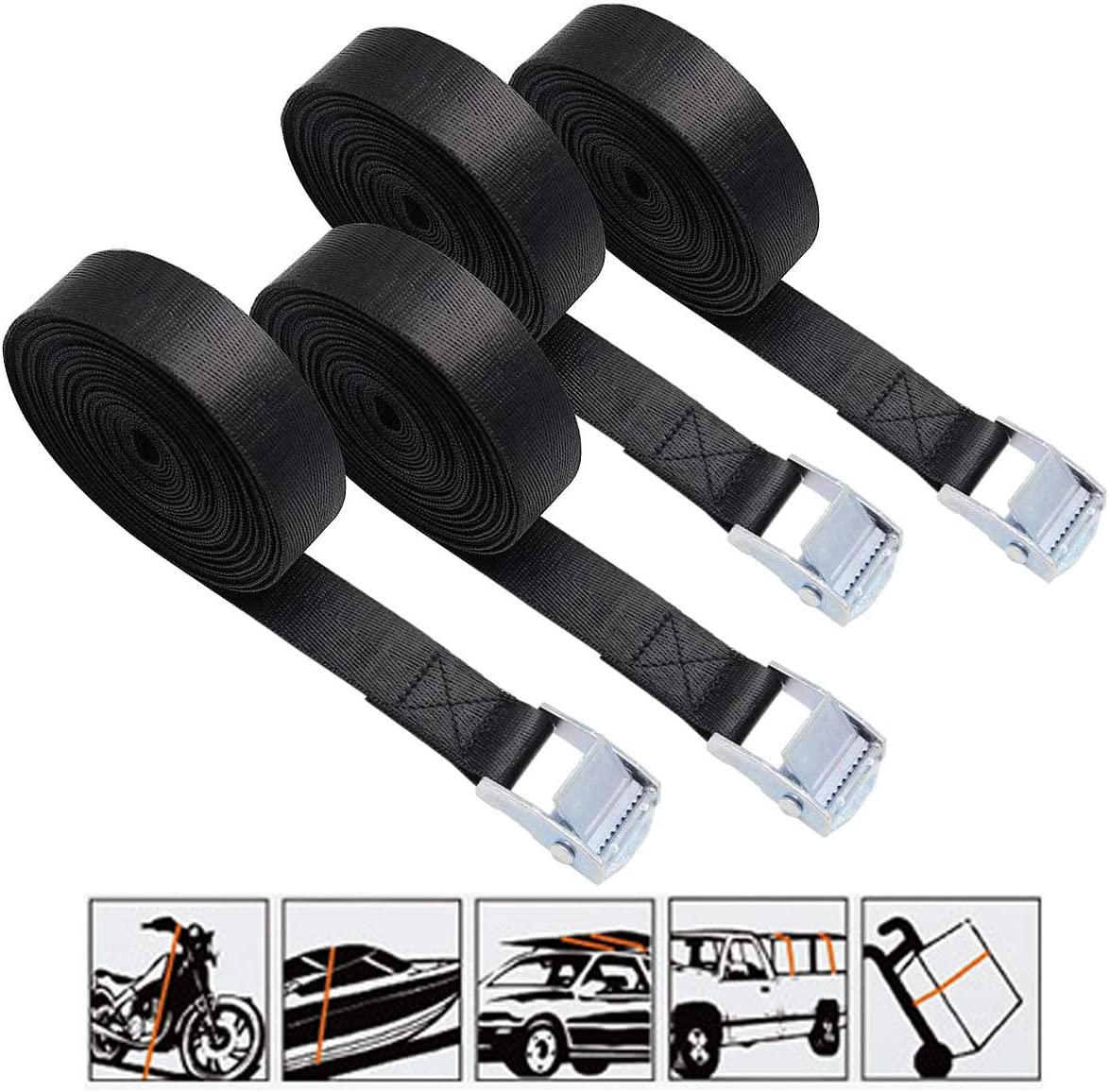 13 Feet 25mm Nylon Lashing Straps Car Roof Rack Straps with Quick Release Buckle for Surfboard Trailer and Luggage Cargo Black 2 Pack Lashing Straps Kayak Trucks Motorcycle