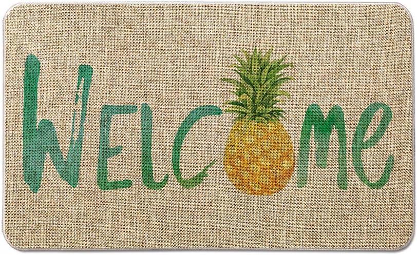 Artoid Mode Watercolor Welcome Pineapple Decorative Doormat, Seasonal Summer Holiday Low-Profile Floor Mat Switch Mat for Indoor Outdoor 17 x 29 Inch