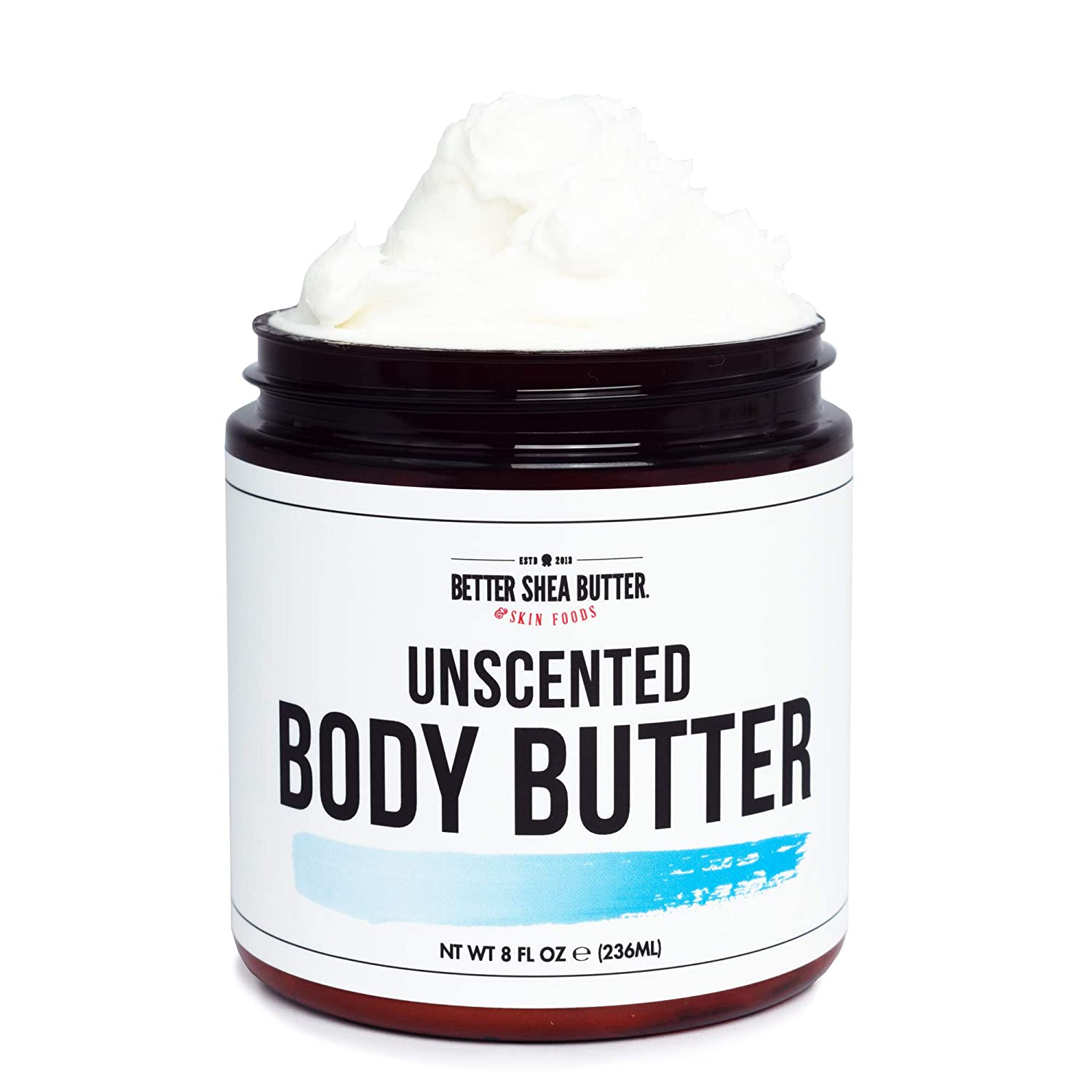 Unscented Whipped Body Butter for Dry Skin - Intense 24-Hour Hydrating Cream, with Shea Butter and Aloe Vera - Paraben Free, Non Greasy, No Synthetic Fragrances - 8 oz