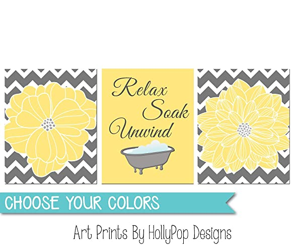 Amazon.com: Yellow Gray Bathroom Wall Decor - Relax Soak Unwind ...