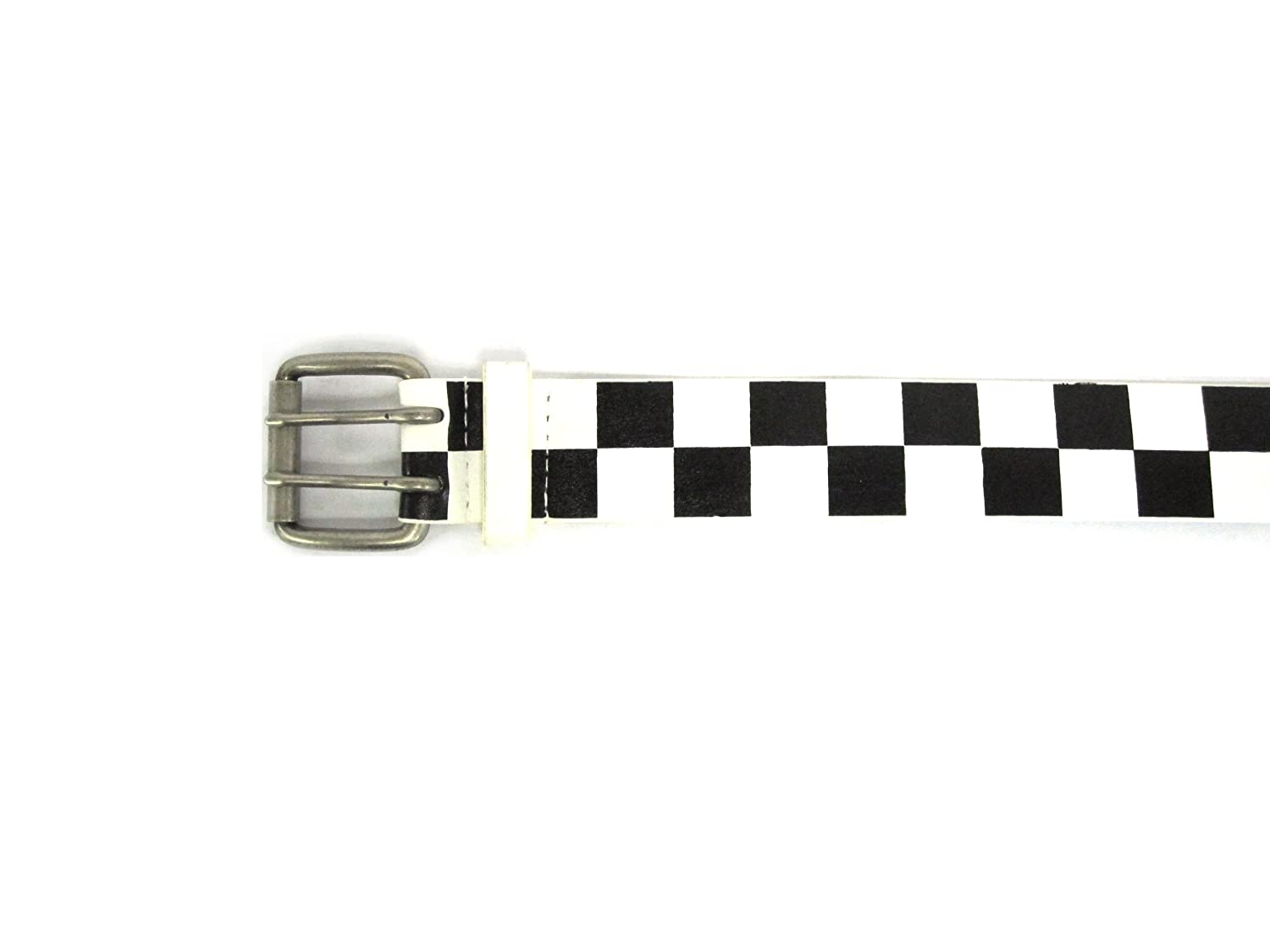 "1 1/2"" Women's Silver Buckle on Quality Black and White Checkered Leatherette..."