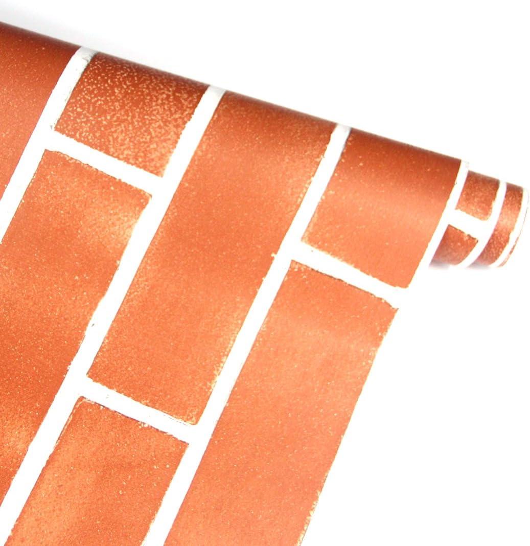 FENTIS Grigio Carta da Parete Adesivo Carta da Parete Decorativa Contatto Auto-Adesivo Rimuovibile Motivo di Mattone Vintage Ruolo per Decorazione di Casa Affitta 45 * 500cm