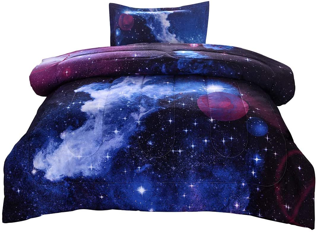 JQinHome Twin Galaxies Dark Blue Comforter Sets Blanket, 3D Outer Space Themed Bedding, All-Season Reversible Quilted Duvet, for Children Boy Girl Teen Kids - Includes 1 Comforter, 1 Pillow Sham
