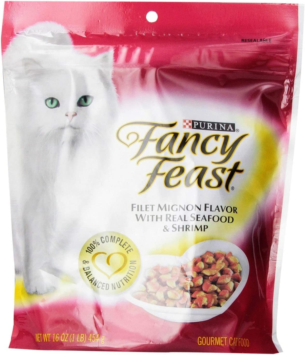 Purina Fancy Feast Gourmet Cat Food, Filet Mignon Flavor with Real Seafood & Shrimp, 16 oz. - Pack of 2