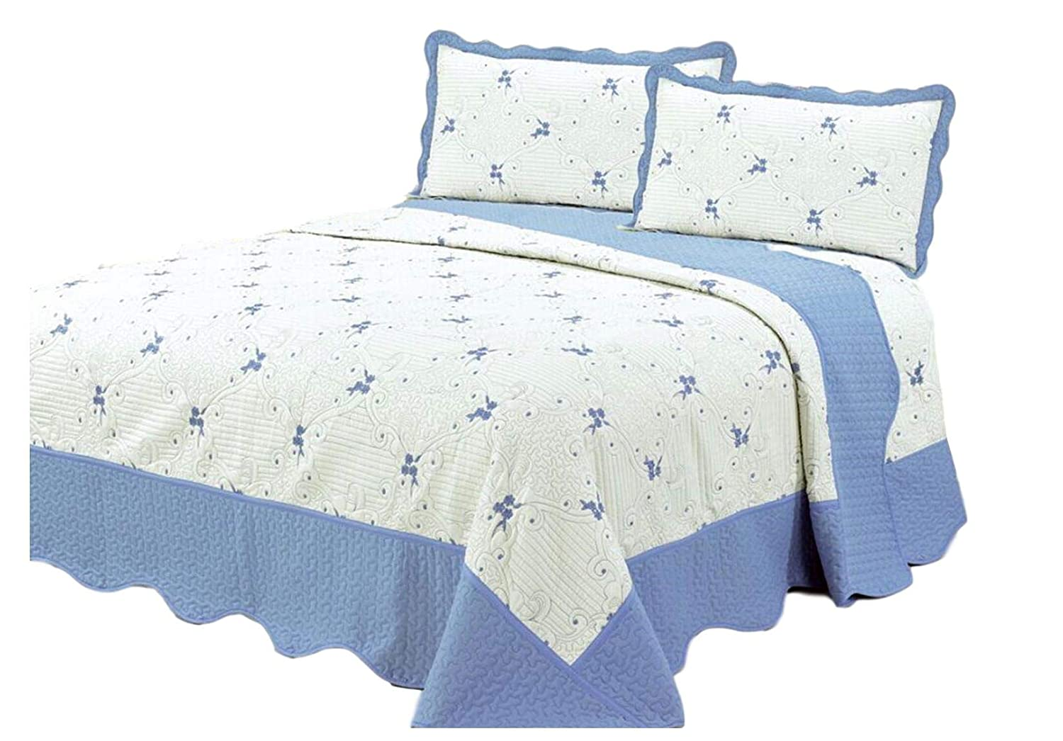 Quilt 3 Piece Embroidered Bedding/Bedspread / Coverlet with 2 Pillow Shams 277