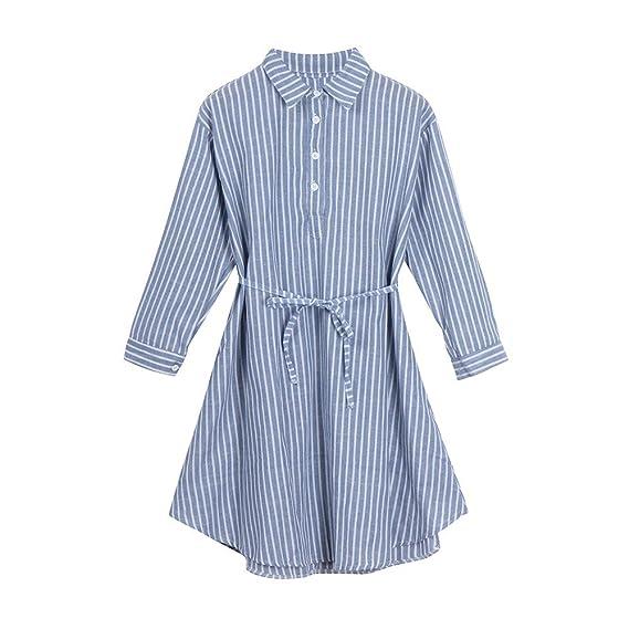 Cinnamou Embarazadas azul y blanco rayas verticales vestido de camisa de vestir