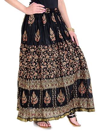 Rangsthali Ooltah Chasha Falda larga estampada de algodón dorado ...