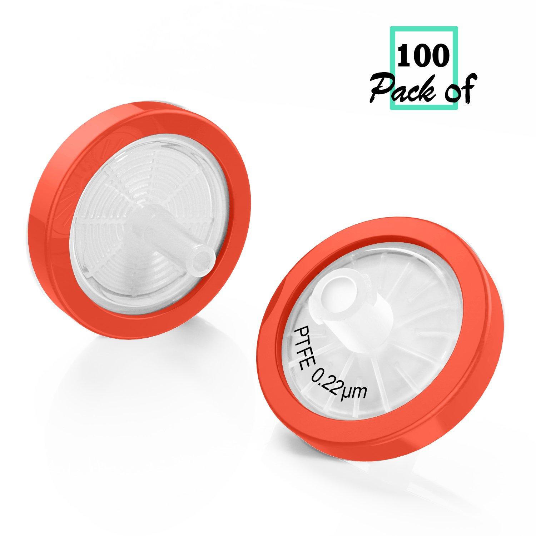 Syringe Filter PTFE Membrane 25mm Diameter 0.22um Pore Size Biomed Scientific non Sterile Pack of 100
