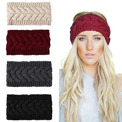 Ondder Boho Headbands for Women Turban Headband Criss Cross Headband Elastic Hair Band Twisted Head Wrap, Twist Knitted best women's winter headbands