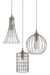 "Revel Wyatt 11.5"" Rustic Industrial 3-Light Multi-Pendant Chandelier + Metal Shades, Cage Design, Adjustable Wire, Brushed Nickel Finish"