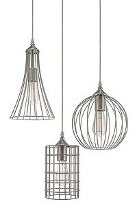 "Kira Home Wyatt 11.5"" Rustic Industrial 3-Light Multi-Pendant Chandelier + Metal Shades, Cage Design, Adjustable Wire, Brushed Nickel Finish"