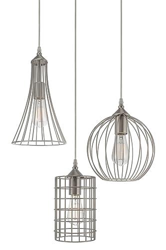 Kira Home Wyatt 11.5 Modern Industrial 3-Light Pendant Chandelier Wire Cage Metal Shades, Adjustable Height, Brushed Nickel Finish