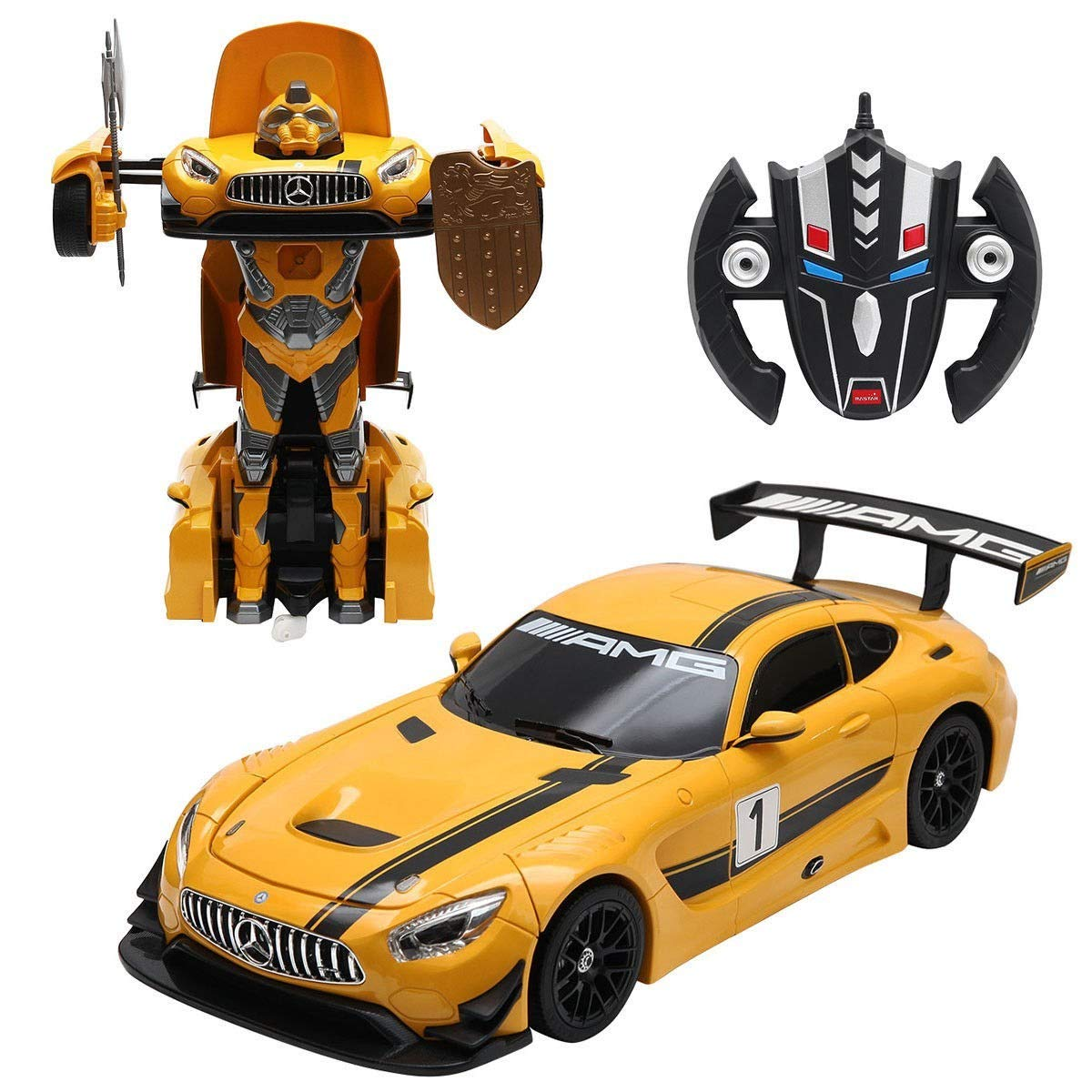 PowerTRC 1:14 Mercedes-Benz GT3 2.4ghz RC Transformer Dancing Robot Car Yellow