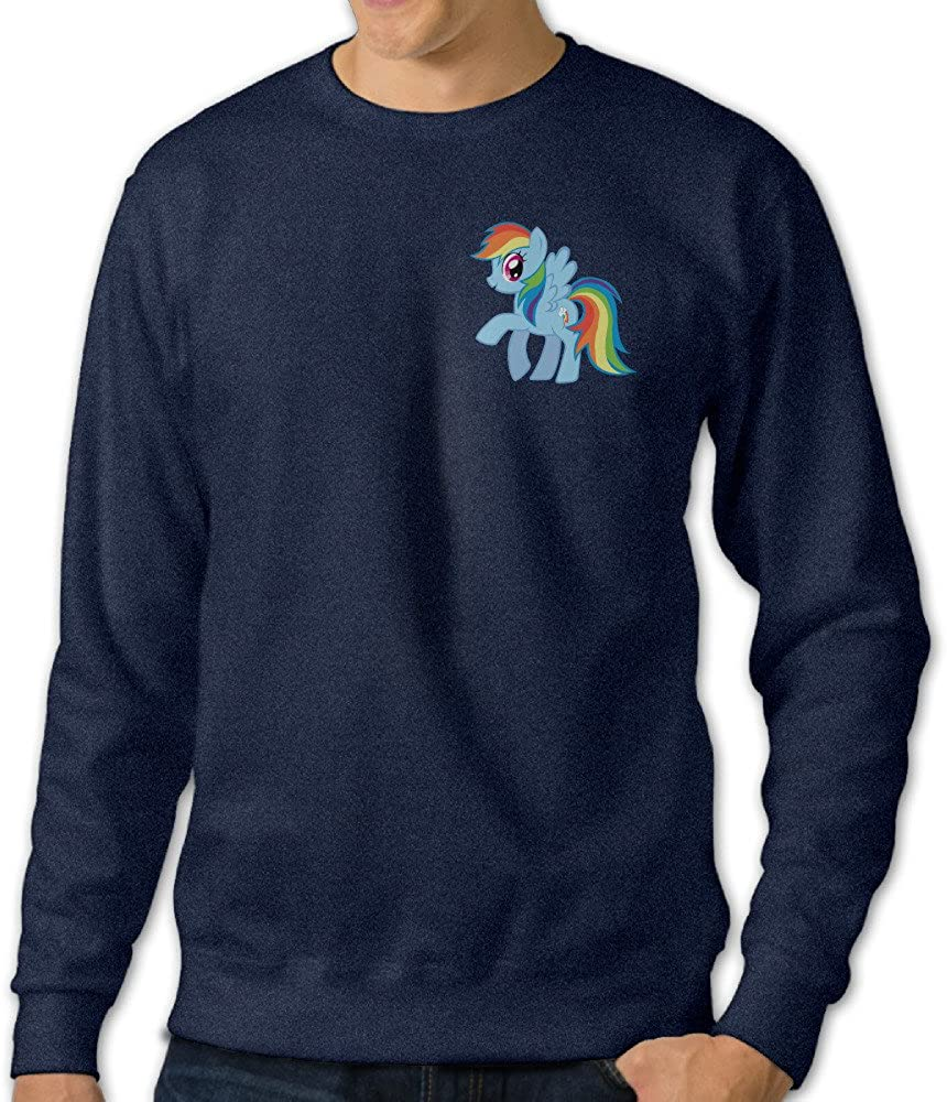 NINJOE Men's Rainbow Horse Long Sleeve T Shirt Navy