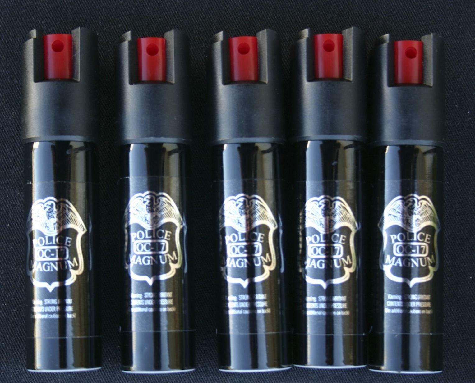 5 Pack Police Magnum Pepper Spray 0.7oz OC-17 Pepper Spray Police Strength by Police