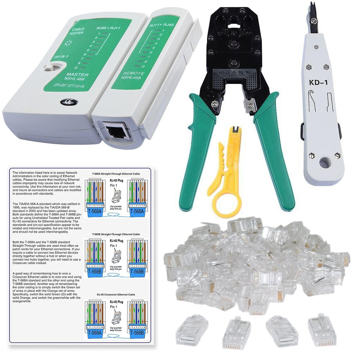 Shopee Rj45 Rj11 Crimping Tool Kd 1 Professional Punch Down Lan How To Make An Ethernet Cable Tester Colour Coding And 20 Pieces Connectors Combo Set