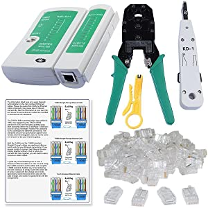 SHOPEE BRANDED Rj45 Rj11 Crimping Tool , KD-1 Professional Punch Down Tool, Network Lan Cable Tester, Ethernet Color Coding & 20 Pcs RJ45 Connectors Combo Set