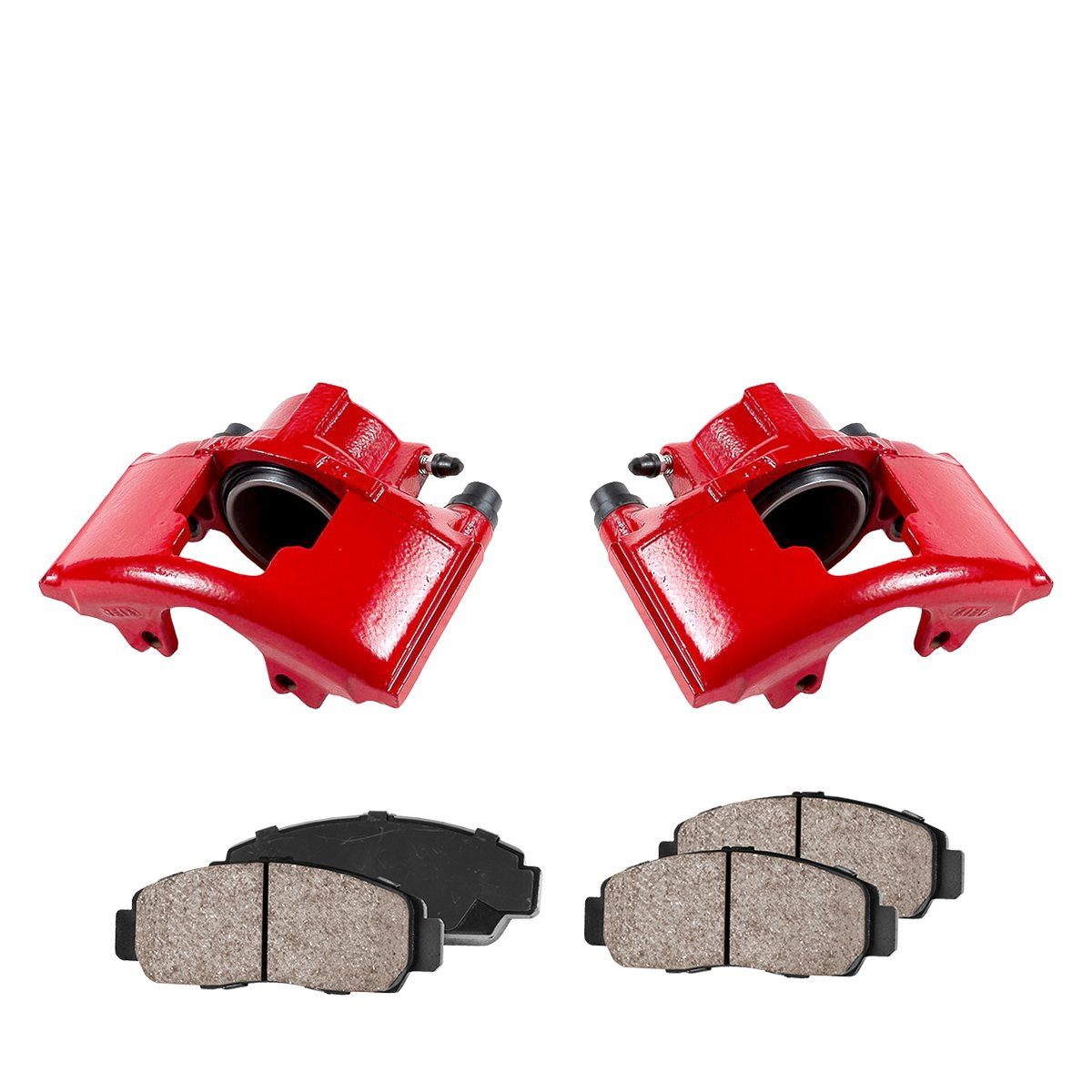 CK00637 [2] FRONT Performance Loaded Powder Coated Red Caliper Assembly + Quiet Low Dust Ceramic Brake Pads Callahan Brake Parts
