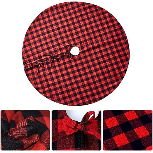 Ctstz Falda de árbol de Navidad de 48 Pulgadas, Cuadros Rojos y ...