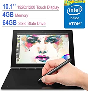 "Lenovo Yoga Book 2-in-1 10.1"" FHD Touchscreen IPS (1920x1200) Tablet/PC, Quad-Core Intel Atom x5-Z8550 Processor, 4GB RAM, 64GB SSD, Bluetooth, Halo Keyboard, Stylus Pen, Android 6.0.1 - Gray"