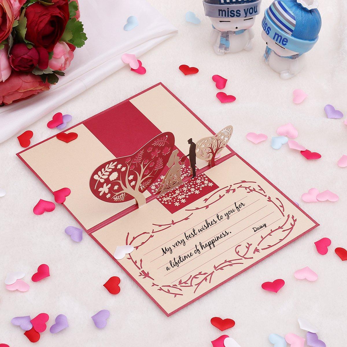 Unomor 3D Pop up Card Wedding Invitations Card for Weddings ...