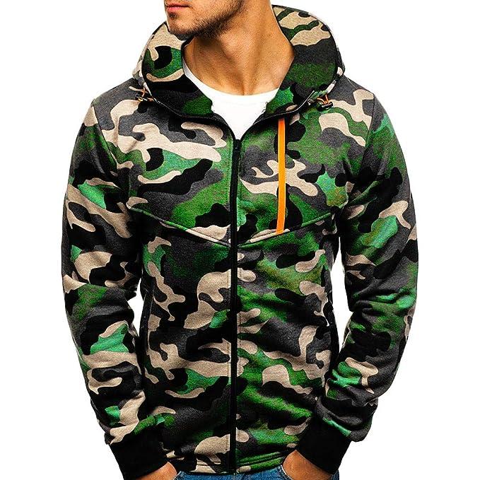 ITISME Herren Pullover Männer Langarm Herbst Winter Camouflage Sweatshirt  Mit Kapuze Top Bluse Mäntel 1c348bee65