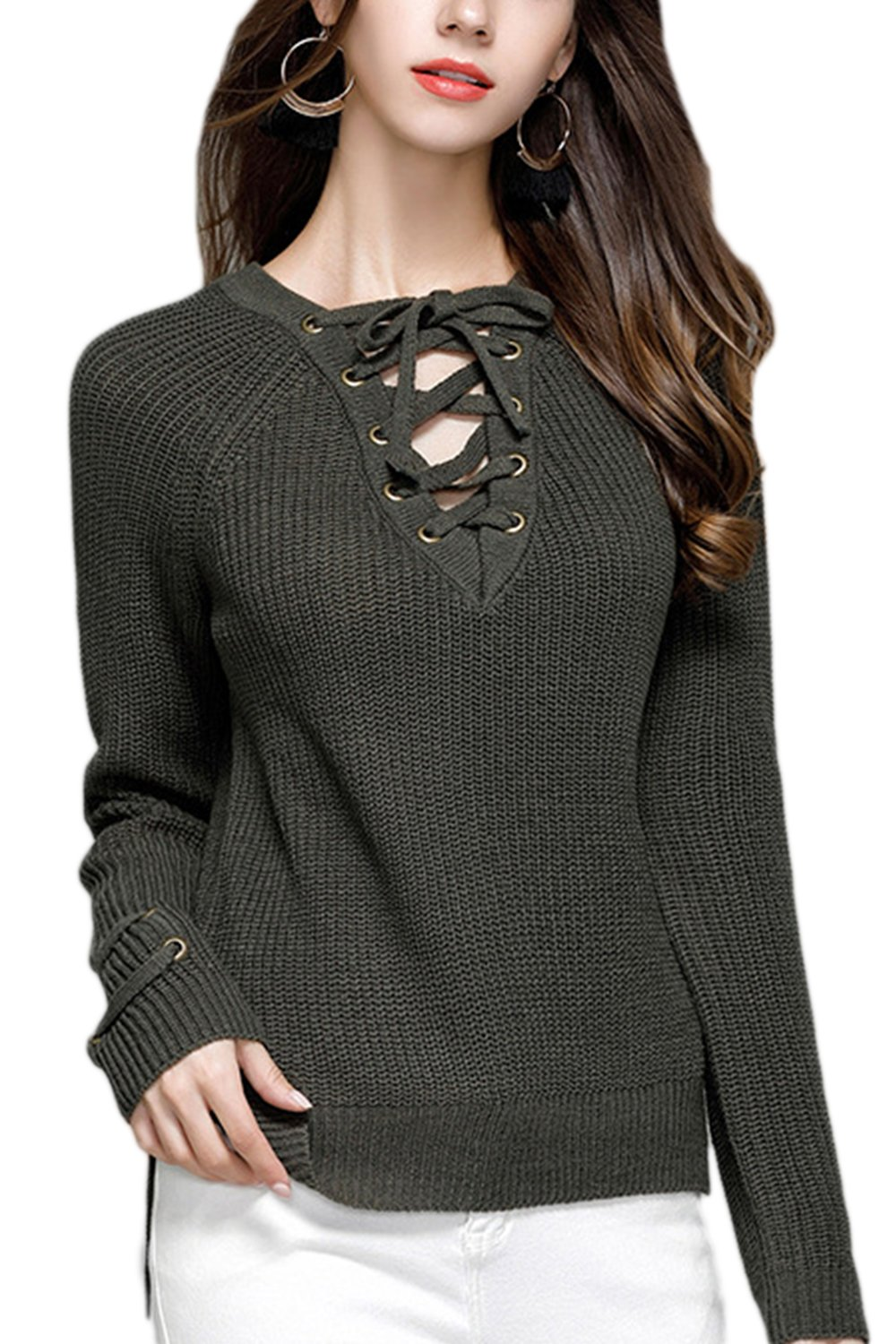 Women Bandage Tie Long Sleeved Deep V-Neck Knitted Base Shirt Sweater Top CAFESPWLKJ007