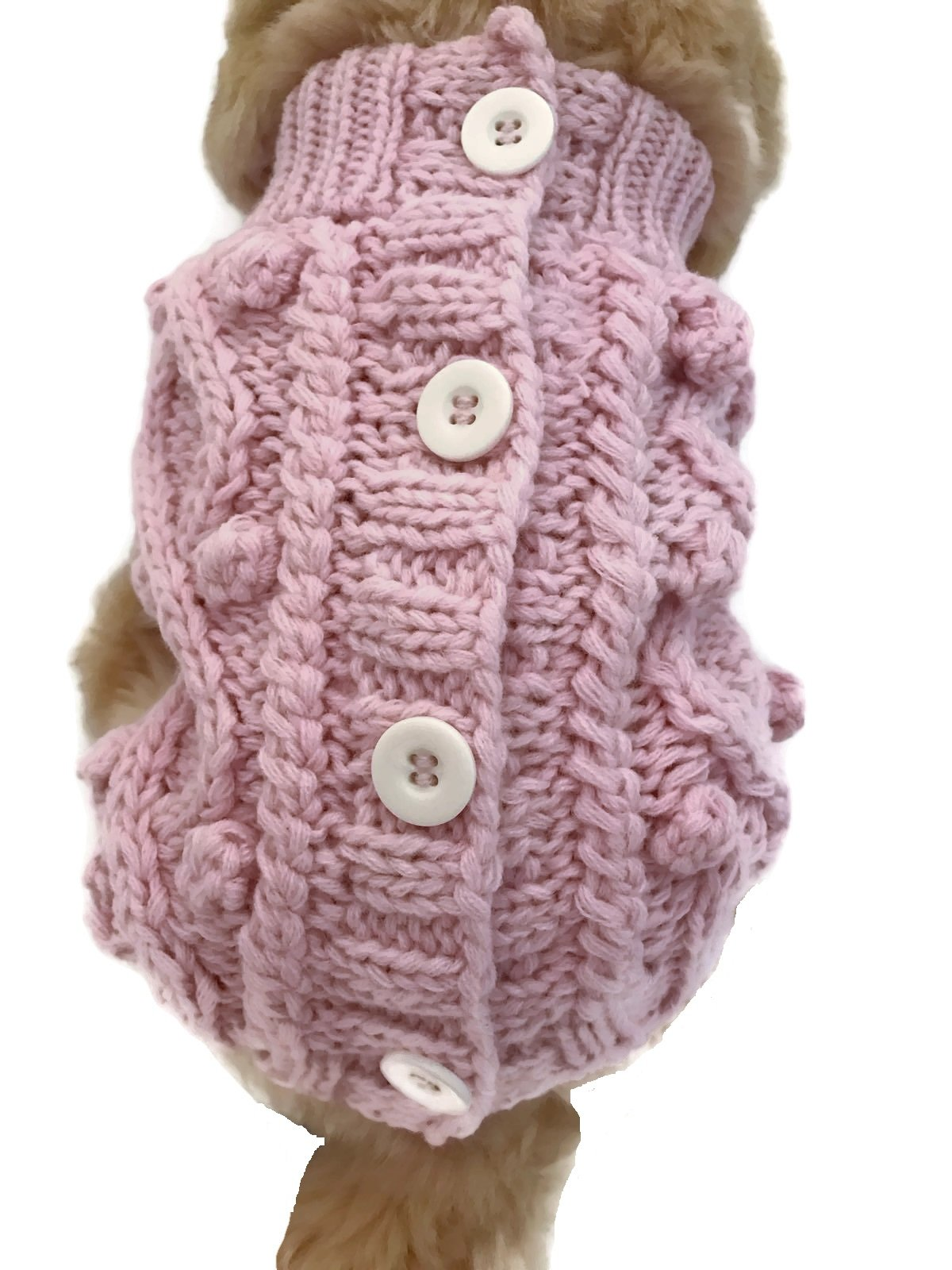 Le Petit Chien Handmade Knitwear Soft Sweater for Small Dogs or Puppies (Small, Pink)