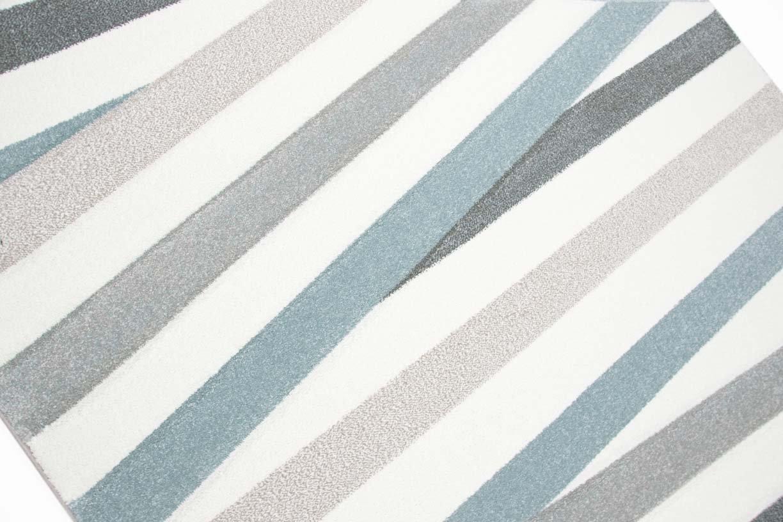 Traum Teppich Designerteppich Moderner Teppich Wohnzimmerteppich Wohnzimmerteppich Wohnzimmerteppich Kurzflor Teppich mit Konturenschnitt Gestreift Grau Blau Weiß, Größe 160x20 cm 57bf7d