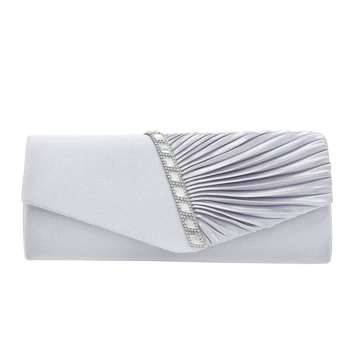 Charming Tailor Evening Handbag Crystal Embellished and Pleated Satin Clutch (Silver)