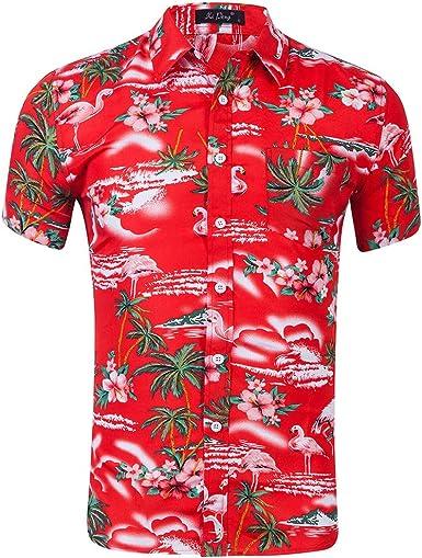 Camisa De Manga Corta para Hombre Camisa Hawaiana Camisa Casual con Estampado De Flamenco De Playa: Amazon.es: Ropa y accesorios