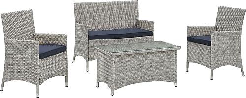 Modway Bridge Wicker Rattan 4-Piece Outdoor Patio Furniture Set
