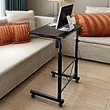Soges Adjustable Lap Table Portable Laptop Computer Stand Desk Cart Tray Side Table for Bed Sofa Hospital Nursing Reading Eating, Black