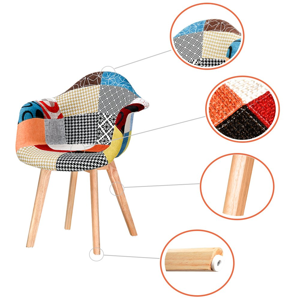 1pc Panana Patchwork Tub Tulip Vintage Fabric Retro Padded Seat Multi-color Dinning Chair