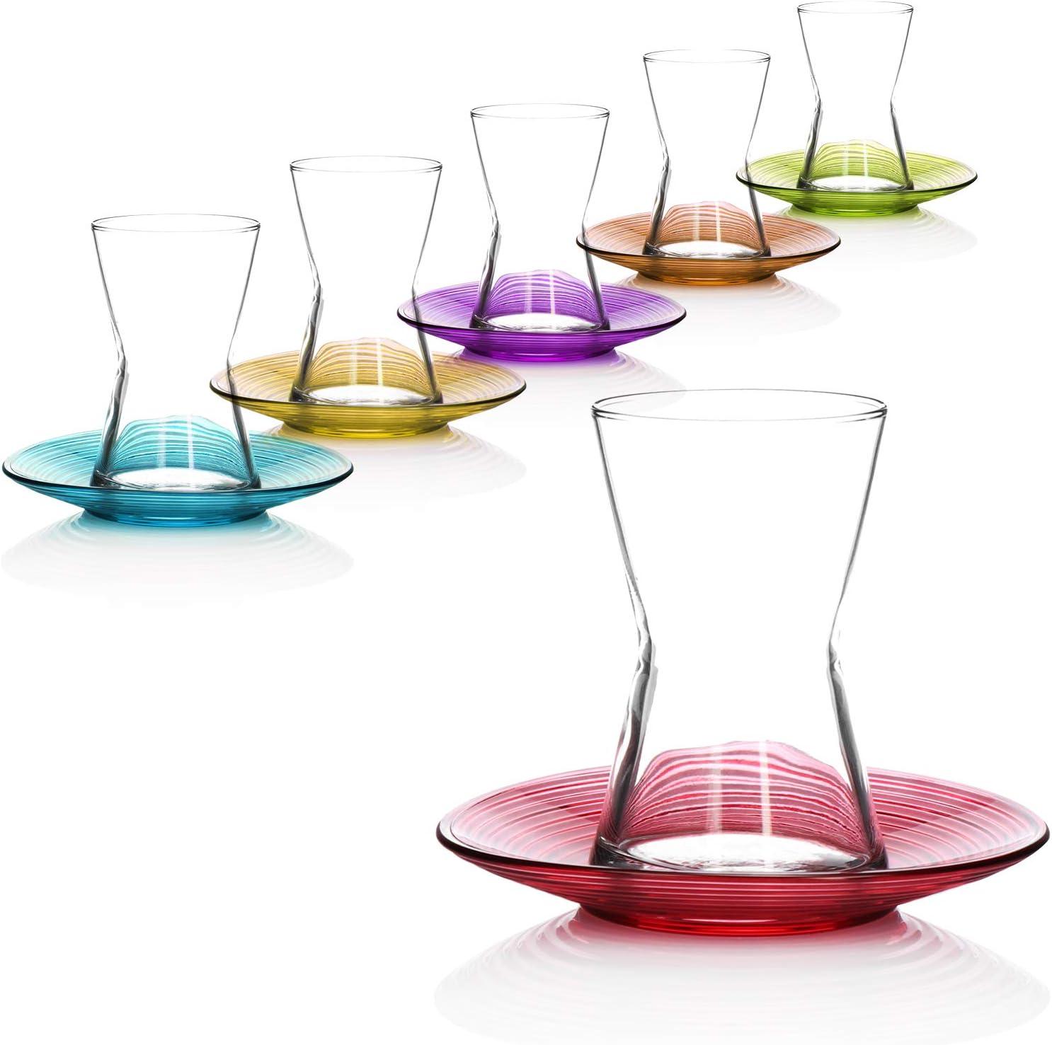 com-four/® 12-piece tea glass set original oriental /Çay set in bright colors Turkish tea glasses with saucers