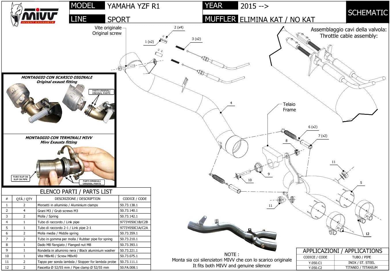 Y.050.C1 Tubos Supresor De Catalizador MIVV Bajante Acero Yzf 1000 R1 2015 15