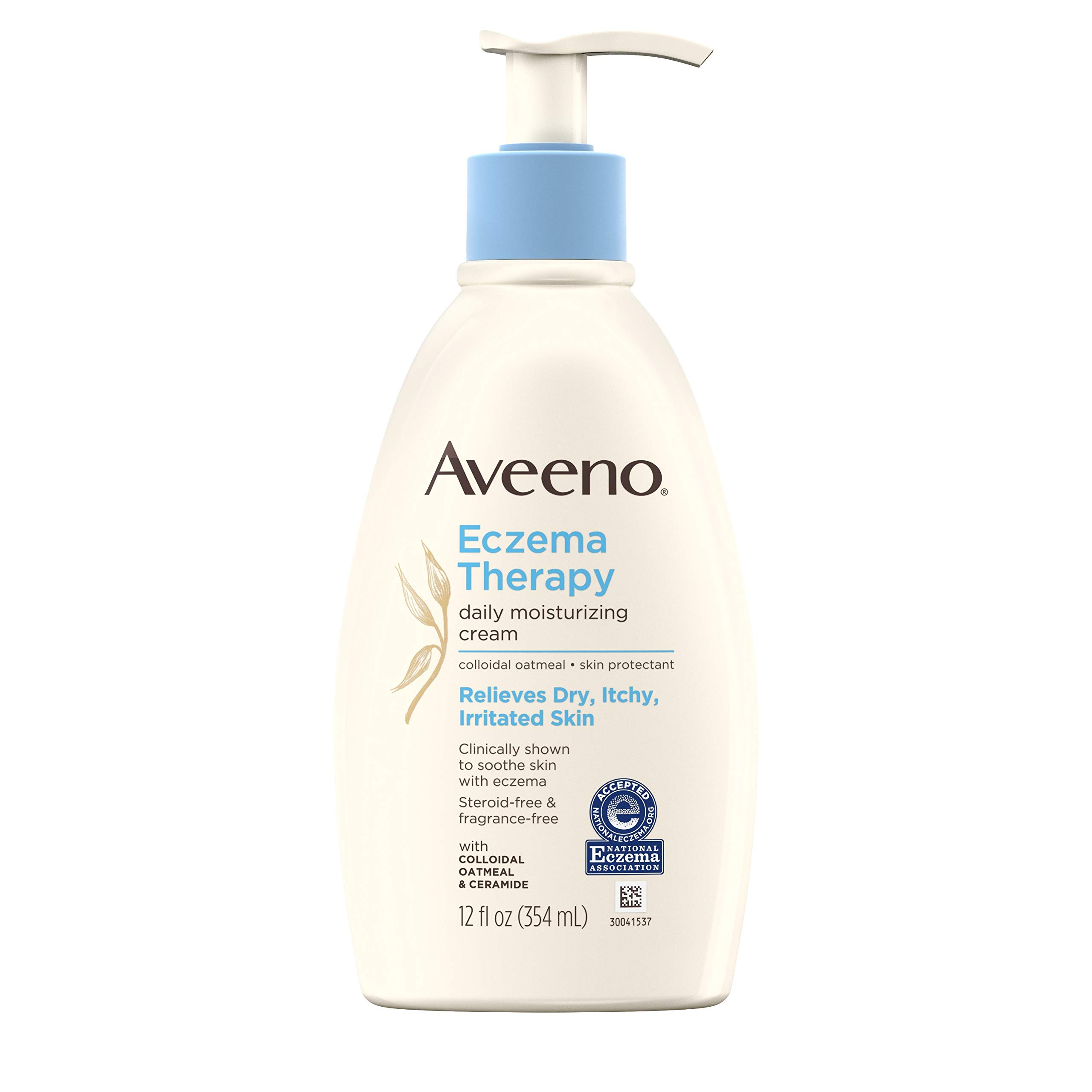 Aveeno Eczema Therapy Daily Moisturizing Cream for Sensitive Skin, Soothing Lotion with Colloidal Oatmeal for Dry, Itchy, and Irritated Skin, Steroid-Free and Fragrance-Free, 12 fl. oz by Aveeno