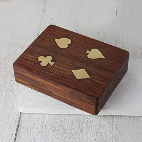 Christmas Gifts Classic Wooden Playing Cards Holder Double Deck Case  Storage Box With Family For Bridge