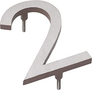 """product image for Montague Metal Products MHN-04-2-F-SD2 Solid Brushed Aluminum Modern Floating Address House Numbers, 4"""", Satin Nickel Powder Coated Sand Two-Tone"""