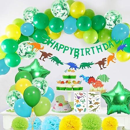 Yansion 35 piezas Dinosaurio Cumpleaños Set de decoración fiesta para niños, Globos Dinosaurios Happy Birthday Bandera Pom Poms Flores Tatuaje ...