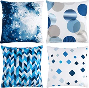 """Tosewever Modern Geometric Decorative Throw Pillow Covers - Plush Velvet Cushion Case for Home Decor Room Bedroom Sofa Chair Car - 18 x 18 Inches Set of 4 Throw Pillow Case (18"""" x 18"""", White Blue)"""