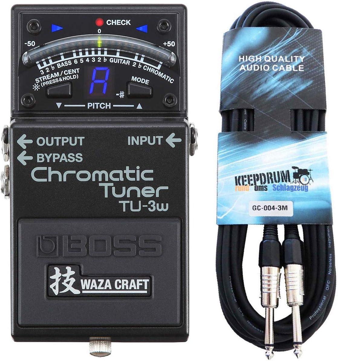 Boss TU-3W Waza - Afinador cromático y cable keepdrum para guitarra (3 m)