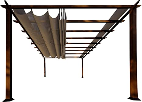 Paragon-Outdoor pr16wd2 C Backyard estructura suave Top con cedro canadiense marco Verona Pergola, 11 x 16, cacao