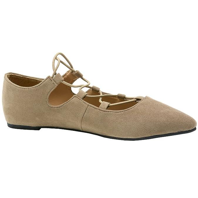 alpine swiss Elena Women's Pointed Toe Ballet Flats Strappy Slip-On Flat Shoes BGE 7 M US OA3RHfX