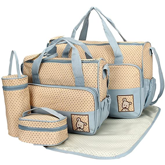 Baby Bucket 5pcs/set Baby Diaper Bag Nappy Mummy Bag Print Maternity Handbag Changing Baby Messenger Bag (Blue)