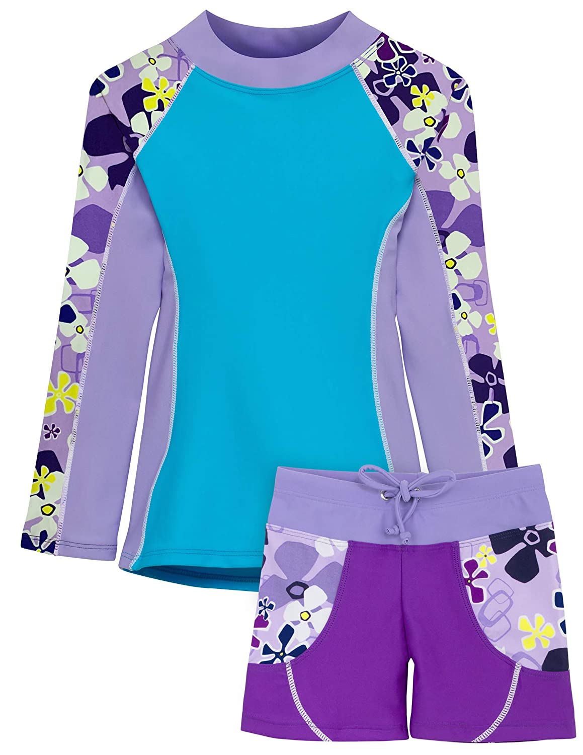 Tuga Girls Two-Piece Long Sleeve Swimsuit Set 2-14 Years Sun Protection UPF 50