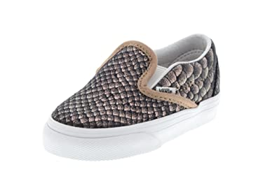 aba8facd13 Vans Toddler s Classic Slip-On (Metallic Snake) Rose Gold True White First