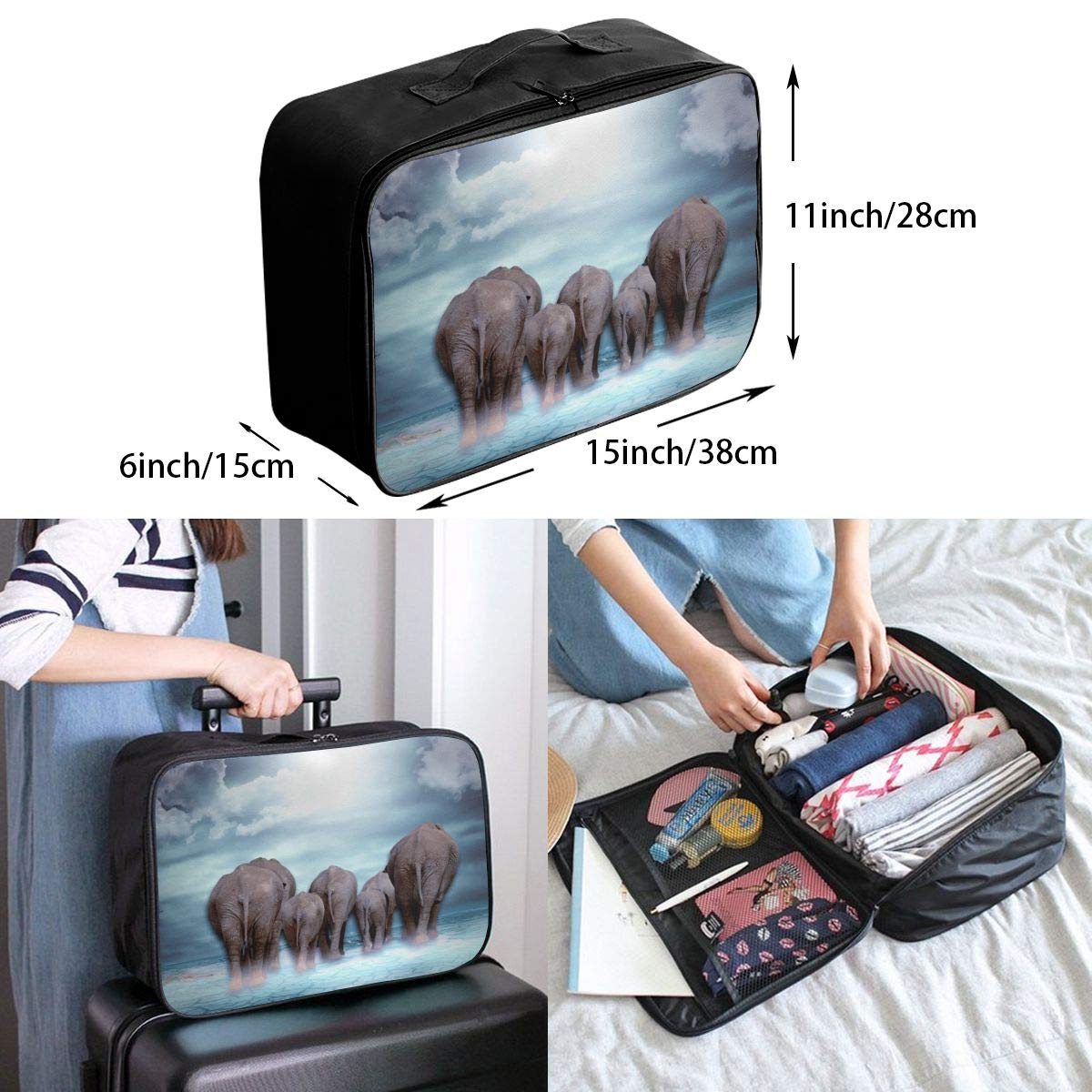 Travel Luggage Duffle Bag Lightweight Portable Handbag Elephant Large Capacity Waterproof Foldable Storage Tote