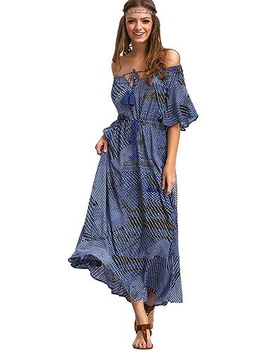 Milumia Women's Boho Off The Shoulder Swing Maxi Dress